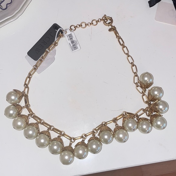 NWT jcrew pearl necklace with gold